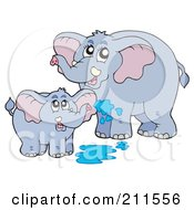 Royalty Free RF Clipart Illustration Of A Cute Baby And Mother Elephant Playing In Water
