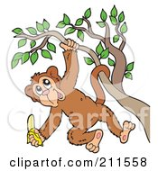 Royalty Free RF Clipart Illustration Of A Happy Monkey Hanging From A Tree With A Banana by visekart