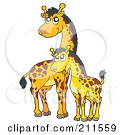 Royalty Free RF Clipart Illustration Of A Cute Mother And Baby Giraffe by visekart