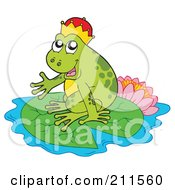 Royalty Free RF Clipart Illustration Of A Cute Frog Prince On A Lily Pad By A Lotus