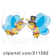 Royalty Free RF Clipart Illustration Of A Honey Bee Bride And Groom