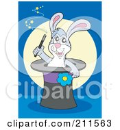 Royalty Free RF Clipart Illustration Of A Magician Rabbit In A Hat