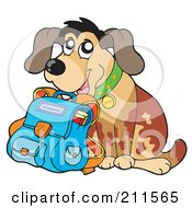 Royalty Free RF Clipart Illustration Of A Happy Dog Student With A School Bag by visekart