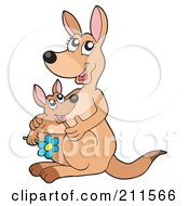 Royalty Free RF Clipart Illustration Of A Mother And Baby Joey With A Flower by visekart