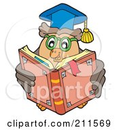 Royalty Free RF Clipart Illustration Of An Owl Teacher Reading A School Book by visekart