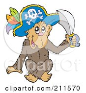 Royalty Free RF Clipart Illustration Of A Cute Monkey Pirate Holding A Sword