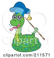 Royalty Free RF Clipart Illustration Of A Snake Professor Holding A Pointer Stick