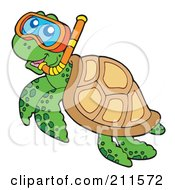 Royalty Free RF Clipart Illustration Of A Cute Snorkeling Sea Turtle
