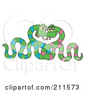 Royalty Free RF Clipart Illustration Of A Snake Couple Entwined And Gazing At Each Other by visekart