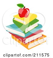 Royalty Free RF Clipart Illustration Of A Stack Of Text Books And An Apple