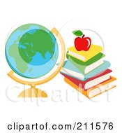 Desk Globe With Text Books