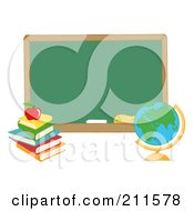 Royalty Free RF Clipart Illustration Of A Desk Globe By A Blank Chalk Board