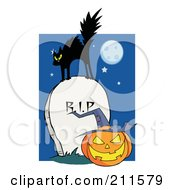 Royalty Free RF Clipart Illustration Of A Scared Cat On A Tombstone Over A Jackolantern