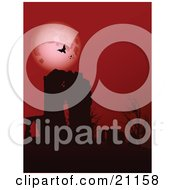 Clipart Illustration Of Vampire Bats Circling In Front Of A Full Moon In A Red Night Sky High Above The Ruins Of An Old Abbey And Bare Trees by elaineitalia