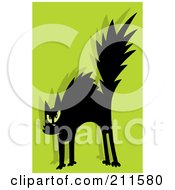 Royalty Free RF Clipart Illustration Of A Scared Black Cat Over Green