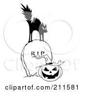 Royalty Free RF Clipart Illustration Of A Black And White Scared Cat On A Tombstone Over A Jackolantern