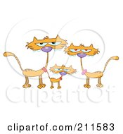Royalty Free RF Clipart Illustration Of A Family Of Three Ginger Cats