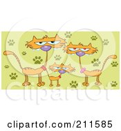 Royalty Free RF Clipart Illustration Of A Family Of Three Marmalade Cats