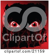 Clipart Illustration Of A Pair Of Red Spooky Monster Eyes Glaring Out In A Dark Night Sky With Red Trees And A Border by elaineitalia
