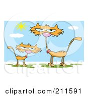 Royalty Free RF Clipart Illustration Of An Orange Kitten By A Mother Cat During The Day