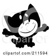 Royalty Free RF Clipart Illustration Of A Black And White Kid Smiling And Dressed In A Cat Halloween Costume
