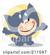 Royalty Free RF Clipart Illustration Of A Cute Child Smiling And Dressed In A Gray Cat Halloween Costume