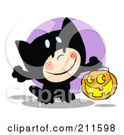 Royalty Free RF Clipart Illustration Of A Happy Child Trick Or Treating In A Black Kitty Costume