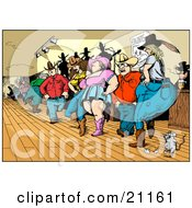 Clipart Illustration Of A Crowd Of Country Folk Men And Women Line Dancing In A Bar With A Mouse by Holger Bogen #COLLC21161-0045