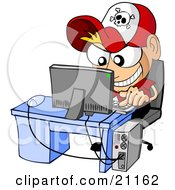 Clipart Illustration Of An Evil Caucasian Boy Hacking Into A Computer And Causing Trouble by Holger Bogen