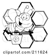 Royalty Free RF Clipart Illustration Of A Black And White Bee Waving And Carrying A Bucket Over Honeycombs by Hit Toon