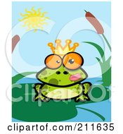 Royalty Free RF Clipart Illustration Of A Crowned Frog Prince With Lipstick On His Cheek by Hit Toon
