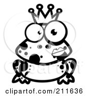 Royalty Free RF Clipart Illustration Of A Black And White Crowned Frog Prince With A Lipstick Kiss On His Cheek by Hit Toon