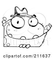 Royalty Free RF Clipart Illustration Of An Outlined Mobster Frog With A Hat And Cigar