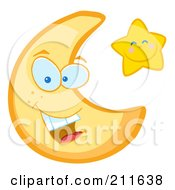 Royalty Free RF Clipart Illustration Of A Friendly Crescent Moon And Happy Star