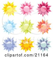 Clipart Illustration Of A Collection Of 9 Yellow Pink Red Blue Green Orange And Purple Floral Icons On A White Background