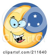 Royalty Free RF Clipart Illustration Of A Friendly Crescent Moon Face In A Starry Blue Sky by Hit Toon