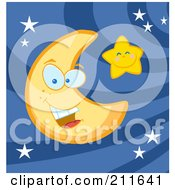 Crescent Moon Face And Happy Star In A Night Sky