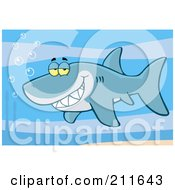 Royalty Free RF Clipart Illustration Of A Happy Blue Shark