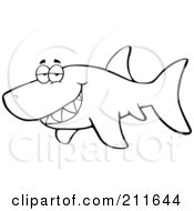 Royalty Free RF Clipart Illustration Of A Coloring Page Outline Of A Shark Flashing A Grin
