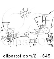 Royalty Free RF Clipart Illustration Of An Outlined Robber Running Towards His Horse In The Desert by Hit Toon