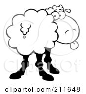 Royalty Free RF Clipart Illustration Of A Black And White Sheep Sticking Its Tongue Out And Looking Back