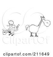 Royalty Free RF Clipart Illustration Of An Outlined Bandit Running Towards His Horse by Hit Toon