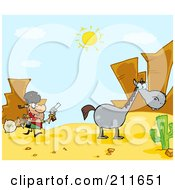 Royalty Free RF Clipart Illustration Of A Robber Running Towards His Horse In The Desert by Hit Toon