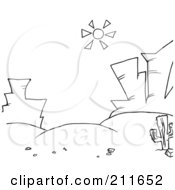 Royalty Free RF Clipart Illustration Of A Coloring Page Outline Sun Shining Down On