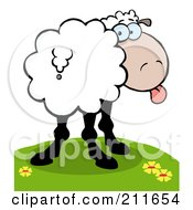 Royalty Free RF Clipart Illustration Of A Goofy Sheep On A Hill Sticking Its Tongue Out And Looking Back