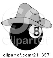 Royalty Free RF Clipart Illustration Of A Billiards Eight Ball Wearing A Cowboy Hat by djart