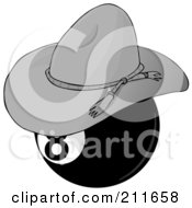 Royalty Free RF Clipart Illustration Of A Billiards Eight Ball Wearing A Cowboy Hat