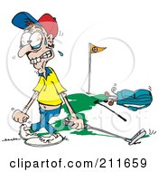 Royalty Free RF Clipart Illustration Of A Tense Man Playing Golf