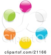 Clipart Illustration Of A Collection Of Pink White Blue Yellow Orange And Green Marbles In A Circle On A White Background by elaineitalia