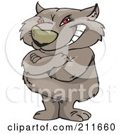 Royalty Free RF Clipart Illustration Of A Grinning Red Eyed Wombat Standing Upright With His Arms Crossed by Dennis Holmes Designs
